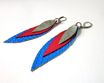 feather earrings, leather earring blue pink silver, Boho jewelry, Boho earrings, leather feathers, leather jewelry