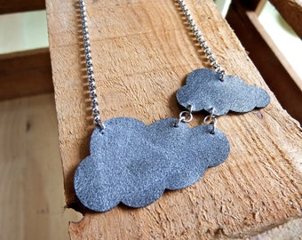 necklace clouds (leather), lasercut, grey leather necklace, grey clouds