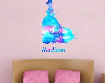 Cinderella Wall decal Personalized Girl Name Wall Decal Cinderella Vinyl Wall Nursery Decor Cinderella Decal Girls Room Decorkcik1969