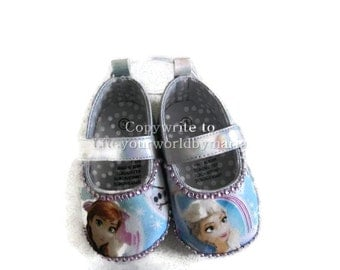 Baby Girl Shoes, Frozen Inspired , Baby, girl, shoes, first shoes,size 2 baby girl, soft sole shoes,