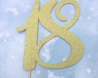 18th cake topper, 18 cake topper, 18th birthday cake topper, glitter cake topper