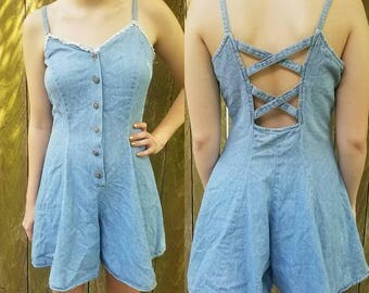 Vintage romper small medium 1970s denim cross back backless womens clothing vintage summer clothing