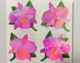 Vintage Rare Sandylion Pearl Orchid Flower Stickers