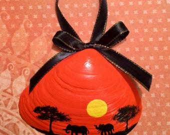 African Sunset Hand Painted Shell
