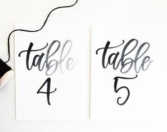 Calligraphy Table Numbers / Calligraphy / Wedding Calligraphy / Table Number / Wedding Table Numbers