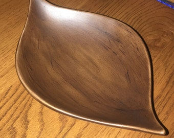 Vintage Wood Grain Ceramic Leaf Bowl