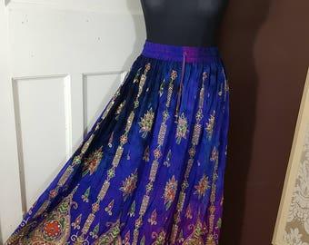 Ladies Boho Hippie, Gypsy, Long Skirt, Party Sequin, Rayon Tie/Dye, Block Painted, Blue/Purple Floral Pattern, Handmade freesize XS S M L