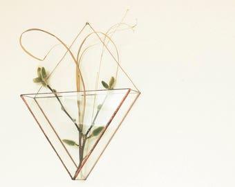 Geometric copper glass wall terrarium-Indoor wall planter-Minimalistic-Modern planter-Modern home decor-Tiffany stained glass