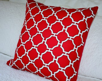 Stunning Red and White Geometric - 45 x 45cm Cushion Cover