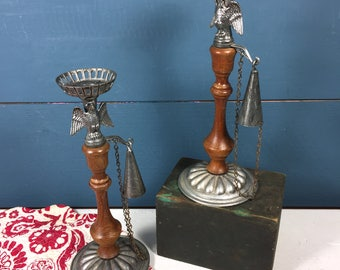Pair Americana Candle Holders, Vintage Candle Holders, Metal and Wood, American Eagle Candlesticks Candle Snuffers, Rustic Colonial Federal