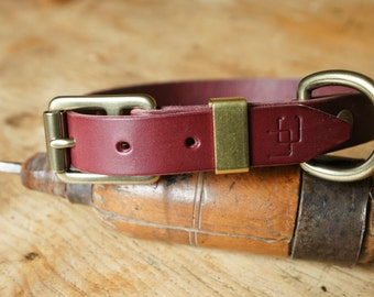 "handmade leather dog collar made in France Urban Cam ""The 180 prune"""