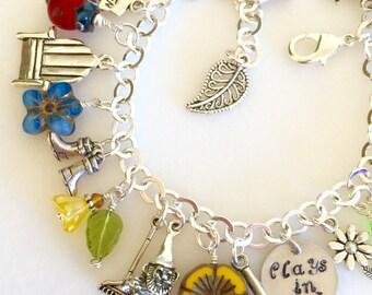 """Garden Charm Bracelet, Gardening Bracelet, Hand Stamped """"Plays In Dirt"""", Garden Lover's Bracelet, Flower Charms, Gardener Gift"""