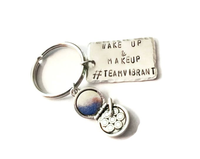 Wake Up and Makeup Custom Key Chain, Makeup Sales Key Chain, Personalized Direct Sales Makeup Key Chain