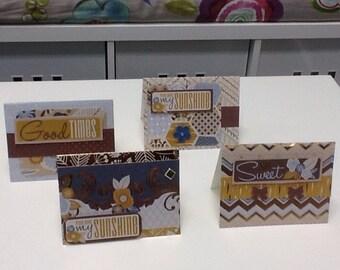 Set of four handmade birthday love cards