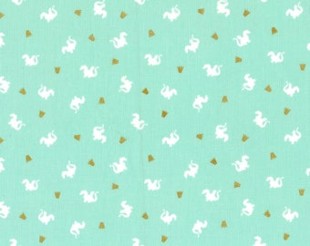 Turquoise Baby Dragons Cotton by Sarah Jane for Michael Miller woven metallic gold white MD7197-TURQ white dragons fabric magic! quilting