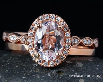 Oval Pink Morganite Engagement Ring - Simple Wedding Band - Bridal Set