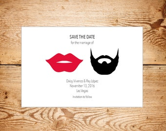 Hipster Save the dates cards - emoji - beard - lips - glasses - moustache - bow tie