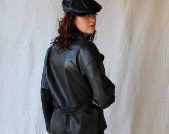 Beautiful Black Pebble Grain Leather Jacket with Belt Biker Rocker Jacket by LNR size