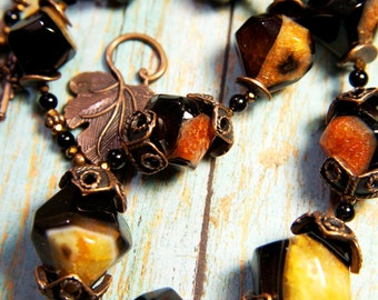 Agate Natural Gemstone Necklace, Handmade Statement Necklace, Handmade Beaded Jewelry, Semiprecious Stone Jewelry, Handmade Beaded Necklace