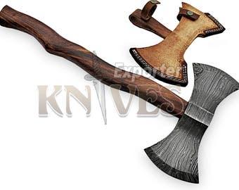 "Custom Hand Forged Damascus Steel Black Smith Double Bit Axe / Hatchet 20"" Wooden Handle"