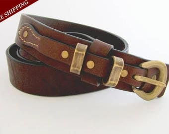 Dark brown leather belt - Natural cow leather belt - Bronze buckle - Bronze rivets - Women's blet - Men's belt