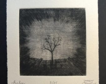 Tree (arbre), dry point and sandpaper engraving
