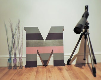Giant wooden letters, home living, kids rooms, initials, stripey cool wall decoration.