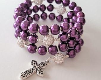 Deep Plum Rosary Wrap Bacelet