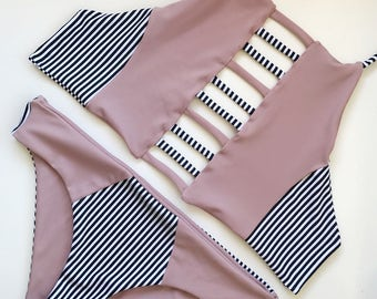 Tyler top in mauve/stripes with matching bottoms!