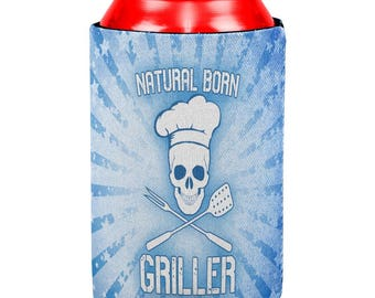 Natural Born Griller Blue All Over Can Cooler