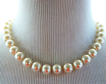 """Vintage Chunky Faux Pearl Statement Choker Necklace Retro Costume Jewelry 18"""""""