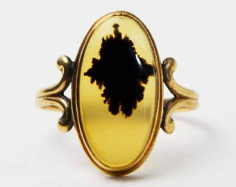 Edwardian 10ct YELLOW GOLD & Dendritic AGATE Cabochon Ring - Sz M - 10k Antique  (Us 6.75 - 7)