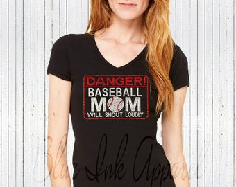 Danger Baseball Mom Will Shout Loudly, Baseball Mom Shirt, Rhinestone Baseball Mom, Baseball Mom Tank, Rhinestone Baseball Mom Tank