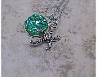 Starfish Necklace, Starfish Pendant, Starfish Jewellery, Starfish Gift, Starfish Charm, Green Druzy, Sea Life Jewellery, Ella Rose, Ocean,