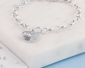 Sterling Silver memorial ashes/hair birthstone bracelet