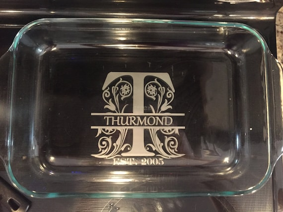 custom  personalized etched split letter monogram 13x9 pyrex
