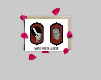 Frankenstein Monsters Valentines Card or Print