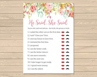 Pink Floral Bridal Shower He Said She Said Game, Printable Floral He Said She Said, Floral Guess Who Said It DIY Game Instant Download 107-W