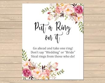 Boho Put a Ring on It Bridal Shower Game, Printable Pink Floral Dont Say Game, Boho Dont Say Bride Shower DIY Game Instant Download, 110-W