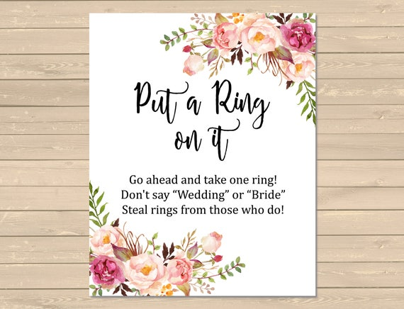 This is a picture of Gutsy Put a Ring on It Bridal Shower Game Free Printable
