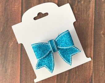 Blue, Glitter, Hair Bow,  Hair Clip, Embroidered, Black Ribbon Covered  Alligator Clip, Toddler, Baby, Choose Left or Right Side