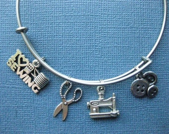 Sewing Bangle - Sewing Charm Bracelet - Sewing Jewelry - Charm Bracelet - Bangle  - Sew - Sewing -- B128
