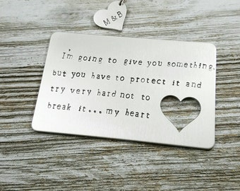 Wallet Card Insert- Custom-hand stamped-gifts for him