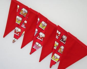 Handmade fabric bunting, perfect for playroom, party decoration, fun, banner, birthday party, red vw camper van, colourful, flags