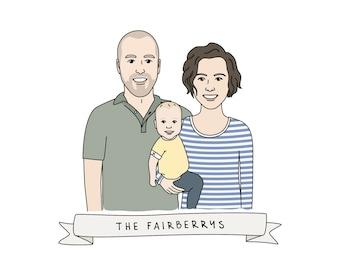 Custom Family Portrait - Digital Portrait, Custom Family Illustration, Family Portrait - Anniversary Gift, Illustrated Family Portrait