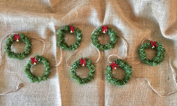 MINIATURE WREATH CHRISTMAS Garland, Bunting, or Banner
