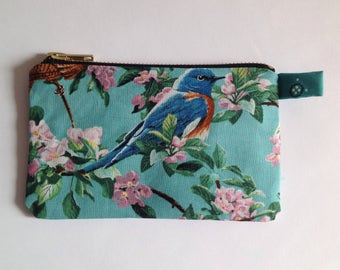 Blue bird with cherry blossom fabric change purse, lip salve pouch with sturdy metal zipper
