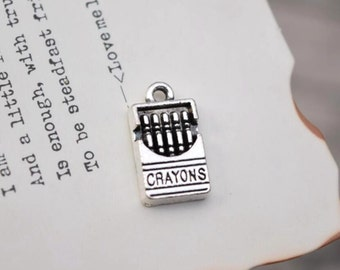 20 antique silver crayons charms box of crayons charm pendant pendants  (X02)
