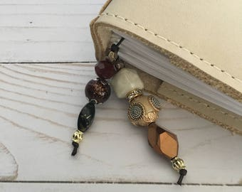 Planner Charm/Bookmark- Brown/Gold