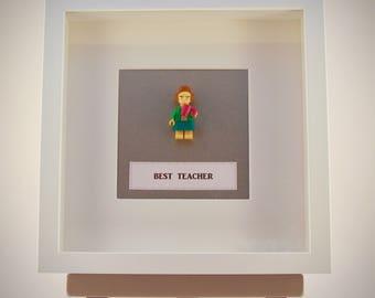 Best Teacher Lego mini Figure framed picture 25 by 25 cm